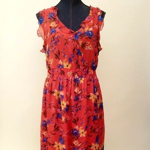 OLD NAVY Floral RED Spring Summer Dress SZ L